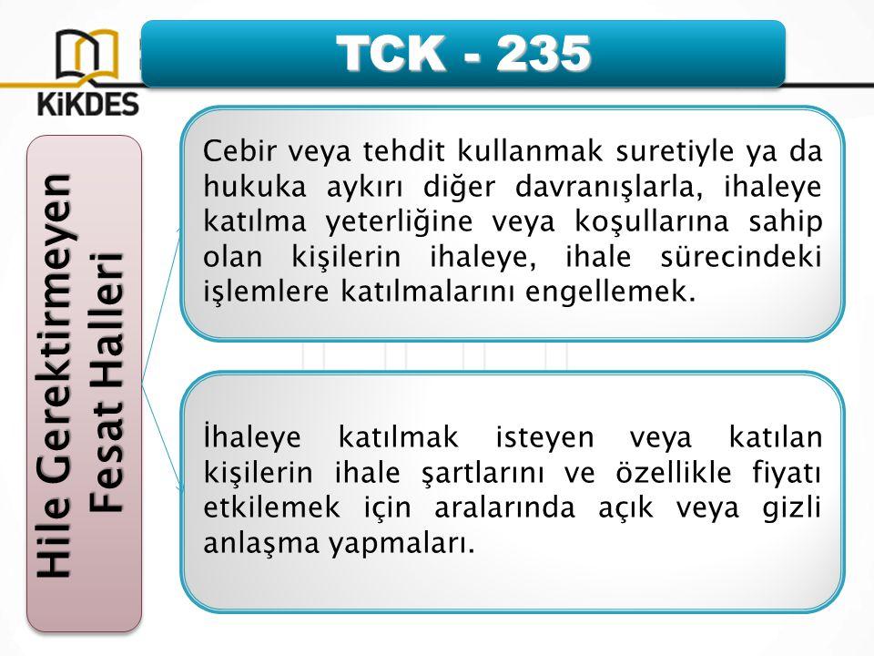 TCK - 235 Hile Gerektirmeyen Fesat Halleri Hile Gerektirmeyen Fesat Halleri Cebir veya tehdit kullanmak suretiyle ya da hukuka aykırı diğer davranışlarla, ihaleye katılma yeterliğine veya koşullarına sahip olan kişilerin ihaleye, ihale sürecindeki işlemlere katılmalarını engellemek.