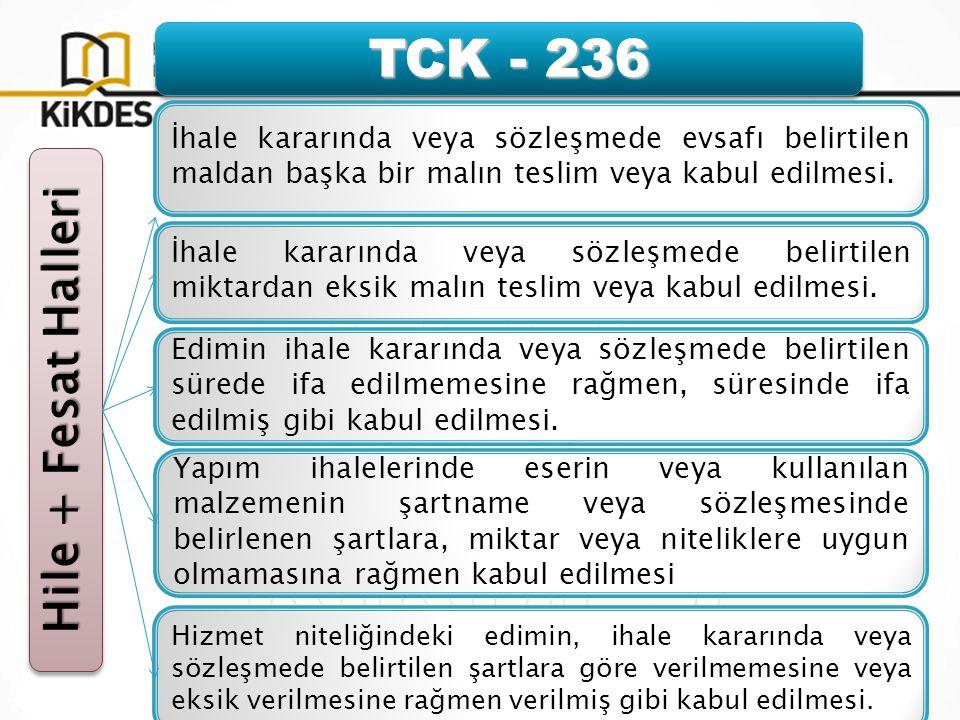 TCK - 236 Hile + Fesat Halleri İhale kararında veya sözleşmede evsafı belirtilen maldan başka bir malın teslim veya kabul edilmesi.