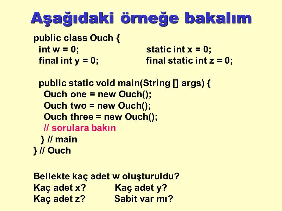 Aşağıdaki örneğe bakalım public class Ouch { int w = 0;static int x = 0; final int y = 0;final static int z = 0; public static void main(String [] args) { Ouch one = new Ouch(); Ouch two = new Ouch(); Ouch three = new Ouch(); // sorulara bakın } // main } // Ouch Bellekte kaç adet w oluşturuldu.