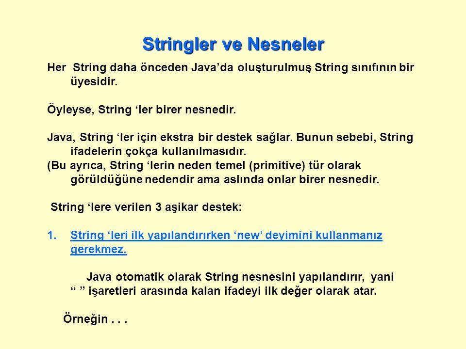 Stringler ve Nesneler Her String daha önceden Java'da oluşturulmuş String sınıfının bir üyesidir.