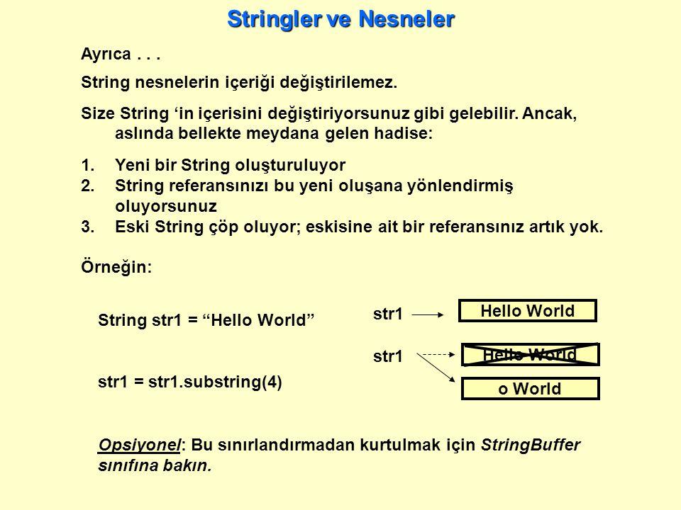 Ayrıca...String nesnelerin içeriği değiştirilemez.