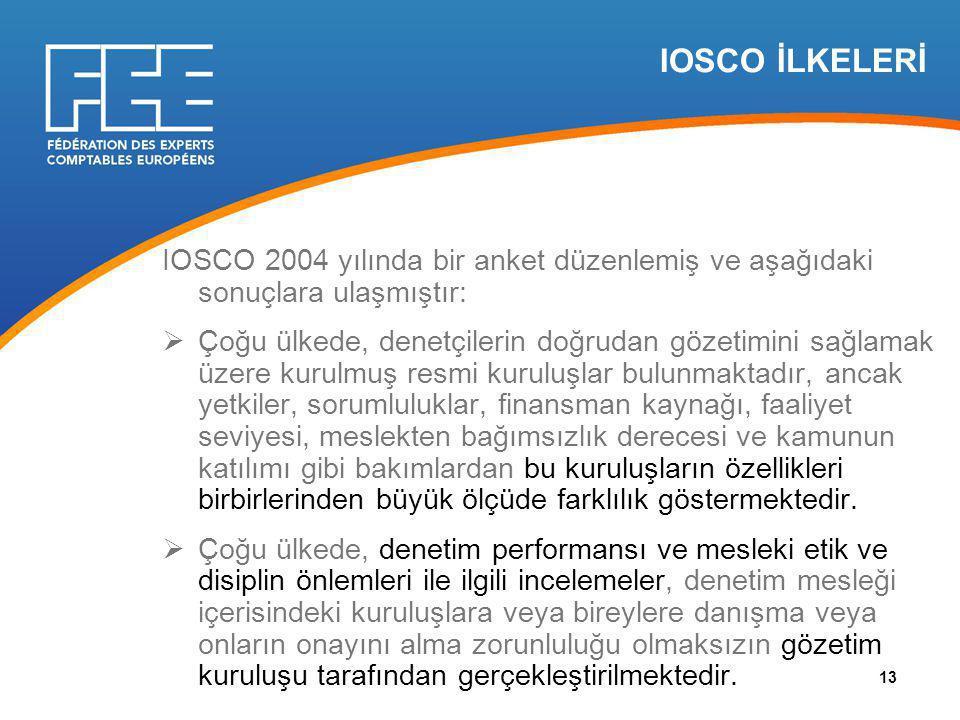 IOSCO İLKELERİ IOSCO 2004 yılında bir anket düzenlemiş ve aşağıdaki sonuçlara ulaşmıştır:  Çoğu ülkede, denetçilerin doğrudan gözetimini sağlamak üzere kurulmuş resmi kuruluşlar bulunmaktadır, ancak yetkiler, sorumluluklar, finansman kaynağı, faaliyet seviyesi, meslekten bağımsızlık derecesi ve kamunun katılımı gibi bakımlardan bu kuruluşların özellikleri birbirlerinden büyük ölçüde farklılık göstermektedir.