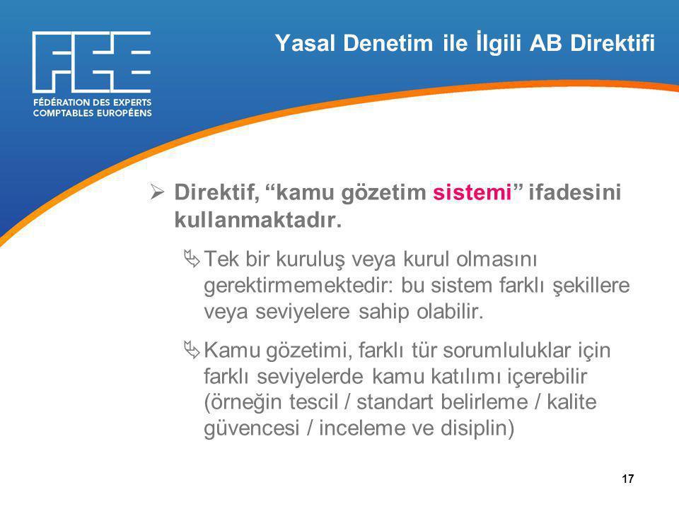 Yasal Denetim ile İlgili AB Direktifi  Direktif, kamu gözetim sistemi ifadesini kullanmaktadır.