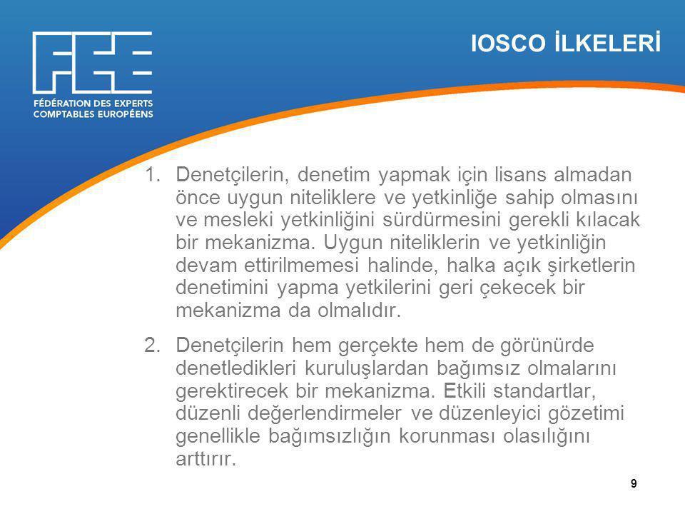IOSCO İLKELERİ 1.Denetçilerin, denetim yapmak için lisans almadan önce uygun niteliklere ve yetkinliğe sahip olmasını ve mesleki yetkinliğini sürdürmesini gerekli kılacak bir mekanizma.