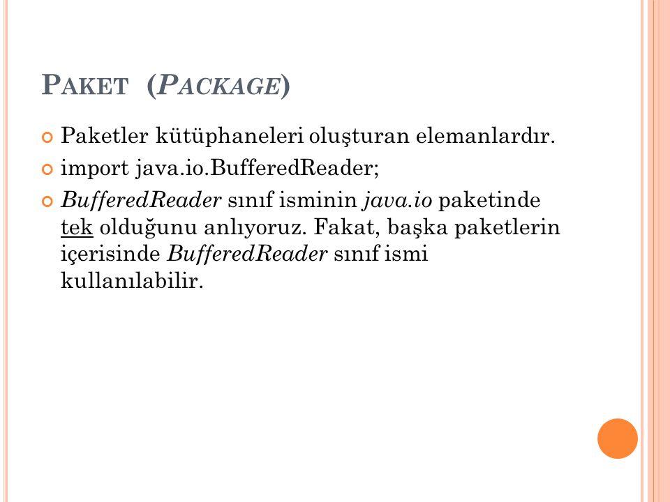 P AKET ( P ACKAGE ) Paketler kütüphaneleri oluşturan elemanlardır. import java.io.BufferedReader; BufferedReader sınıf isminin java.io paketinde tek o