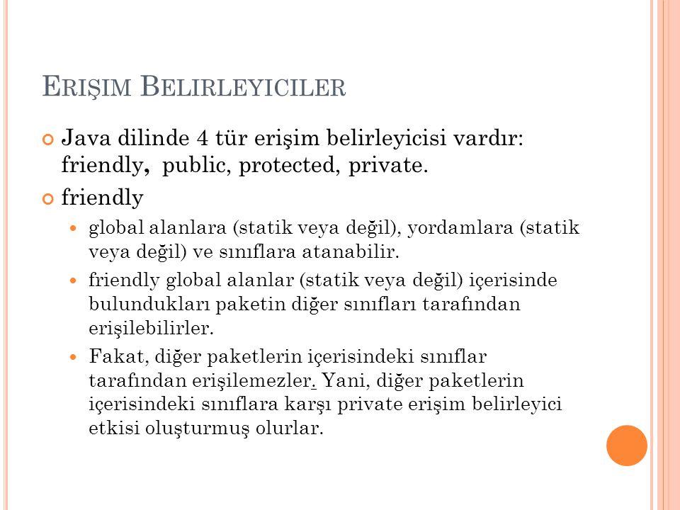 E RIŞIM B ELIRLEYICILER Java dilinde 4 tür erişim belirleyicisi vardır: friendly, public, protected, private.