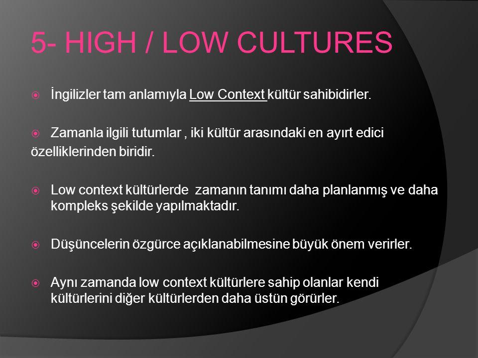 5- HIGH / LOW CULTURES  İngilizler tam anlamıyla Low Context kültür sahibidirler.