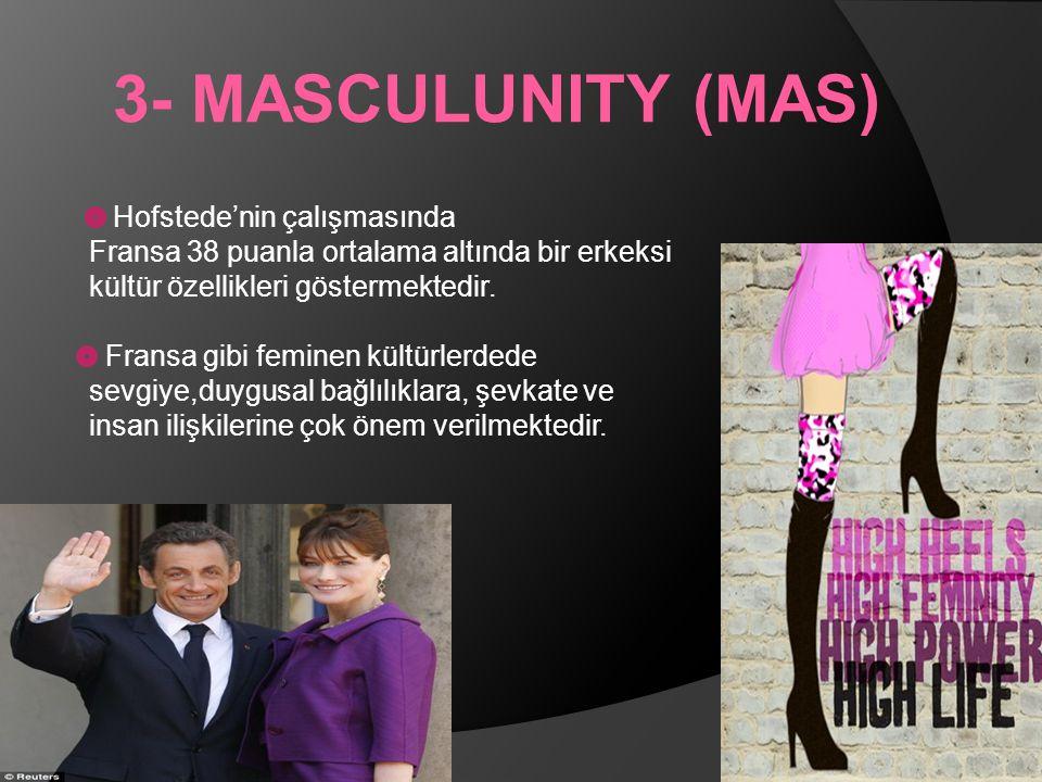 3- MASCULUNITY (MAS) Hofstede'nin çalışmasında Fransa 38 puanla ortalama altında bir erkeksi kültür özellikleri göstermektedir.