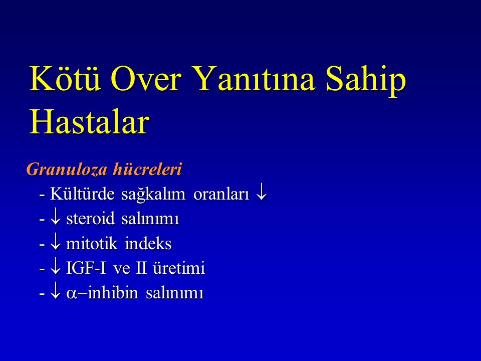 Kötü Over Yanıtına Sahip Hastalar Granuloza hücreleri Granuloza hücreleri - Kültürde sağkalım oranları  -  steroid salınımı -  mitotik indeks -  I
