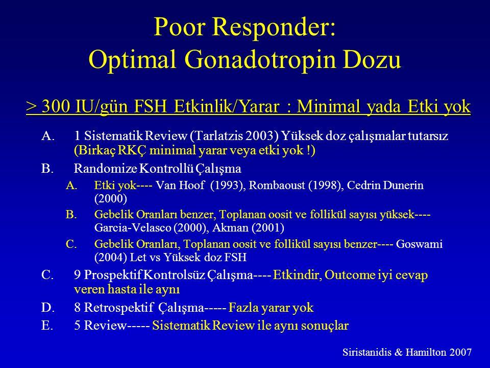 Poor Responder: Optimal Gonadotropin Dozu A.1 Sistematik Review (Tarlatzis 2003) Yüksek doz çalışmalar tutarsız (Birkaç RKÇ minimal yarar veya etki yo