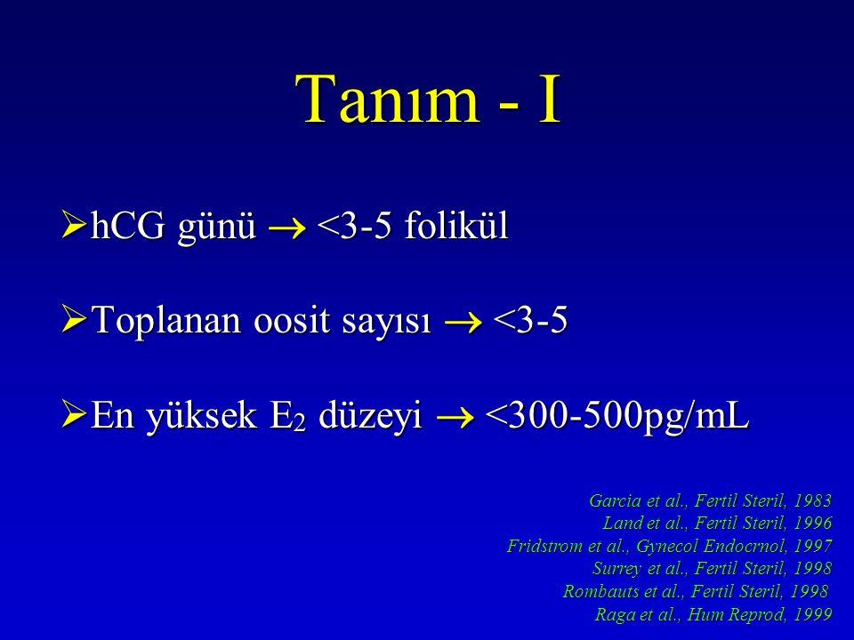 Tedavi Seçenekleri 1.Gonodotropin Doz veya Tip 1.Gonadotropin dozunu arttırmak 2.r-FSH 3.r-LH eklenmesi 2.Senkronizasyon ve Erken Recruitment 1.Luteal FSH (Geç Luteal) 2.Luteal E2 (Geç Luteal) 3.Luteal GnRH antagonist 4.OKs ön tedavi 3.Down Regülasyon Methodları 1.GnRH-a Flare up 2.Mikrodoz GnRH-a flare 3.GnRH-a stop protokolleri 4.GnRH antagonistleri 4.Doğal Siklus