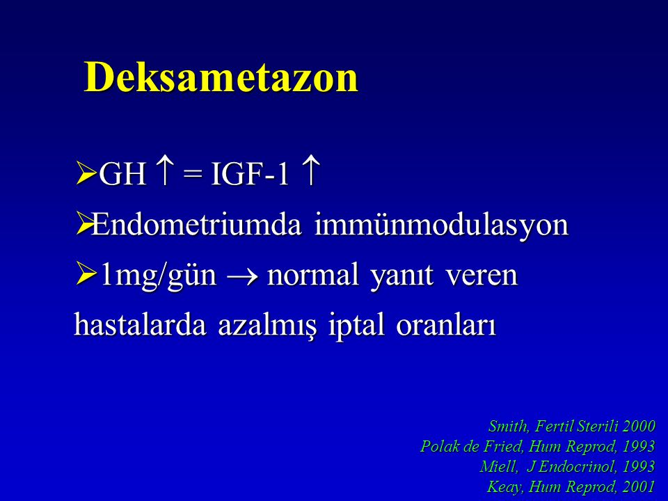 Smith, Fertil Sterili 2000 Polak de Fried, Hum Reprod, 1993 Miell, J Endocrinol, 1993 Keay, Hum Reprod, 2001 Deksametazon  GH  = IGF-1   Endometri