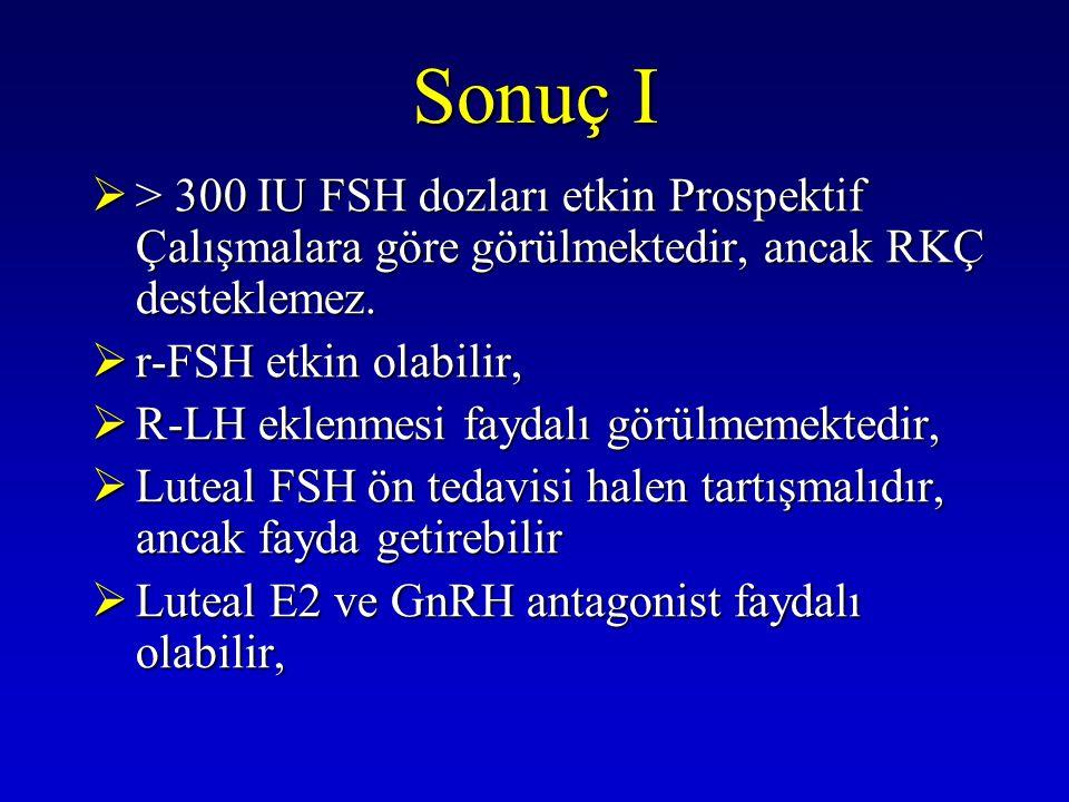 Sonuç I  > 300 IU FSH dozları etkin Prospektif Çalışmalara göre görülmektedir, ancak RKÇ desteklemez.  r-FSH etkin olabilir,  R-LH eklenmesi faydal