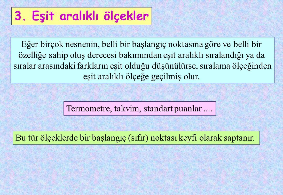 Sıralama ölçek türüyle elde edilen ölçme sonuçları arasında iki tür ilişki vardır: Geçişlilik ve Asimetrililik Mehmet Ali'den daha boylu, Ali ise Emre'den daha boylu ise, Mehmet Emre'den daha boyludur.
