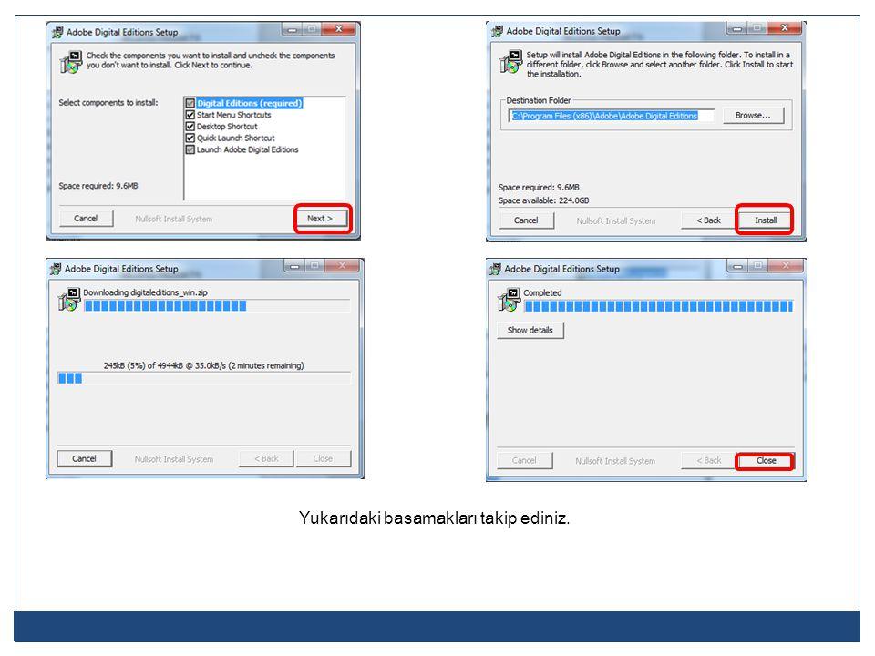 E-kitabın başarıyla alındığını gösteren bir ibare ile birlikte gelen açma ekranından Tamam (OK) butonuna tıklayınız.