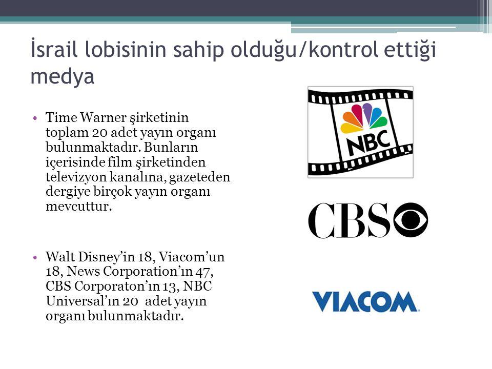 İsrail lobisinin sahip olduğu/kontrol ettiği medya Time Warner şirketinin toplam 20 adet yayın organı bulunmaktadır. Bunların içerisinde film şirketin