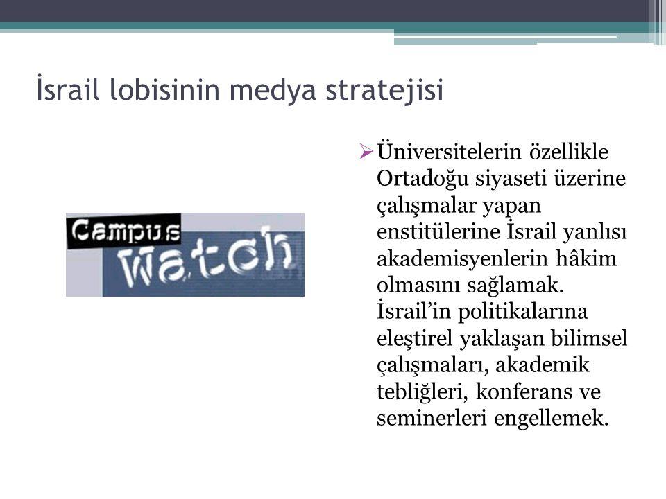 İsrail lobisinin medya stratejisi  Üniversitelerin özellikle Ortadoğu siyaseti üzerine çalışmalar yapan enstitülerine İsrail yanlısı akademisyenlerin