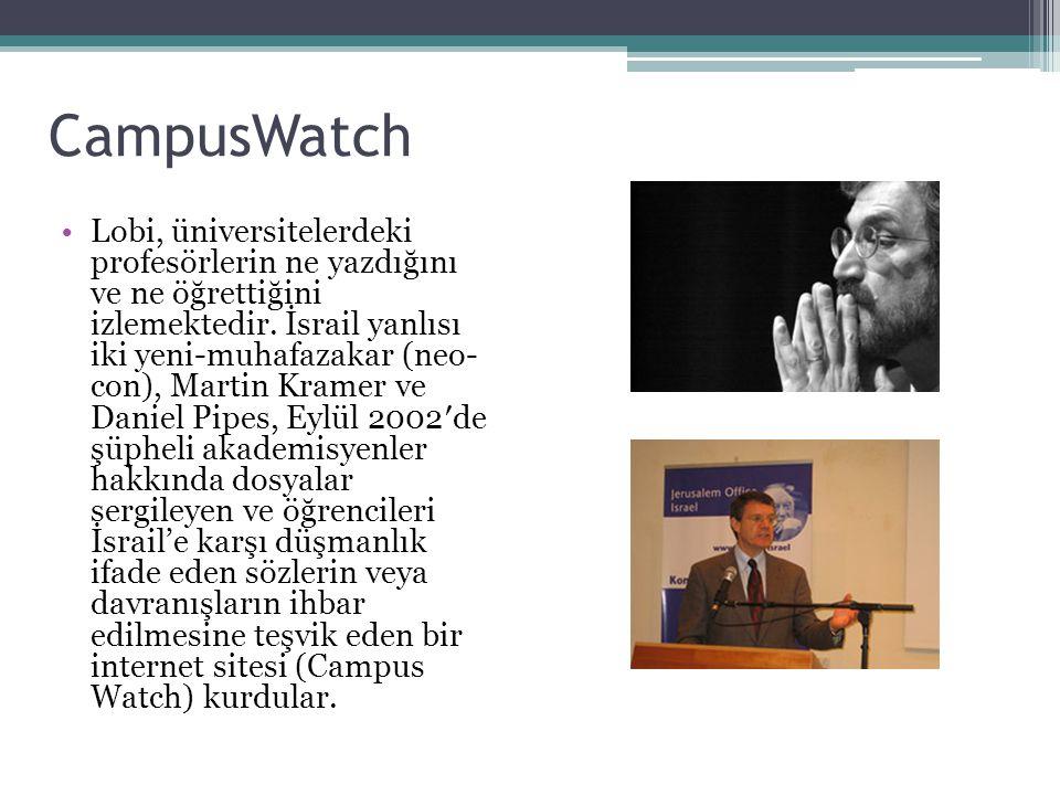 CampusWatch Lobi, üniversitelerdeki profesörlerin ne yazdığını ve ne öğrettiğini izlemektedir. İsrail yanlısı iki yeni-muhafazakar (neo- con), Martin