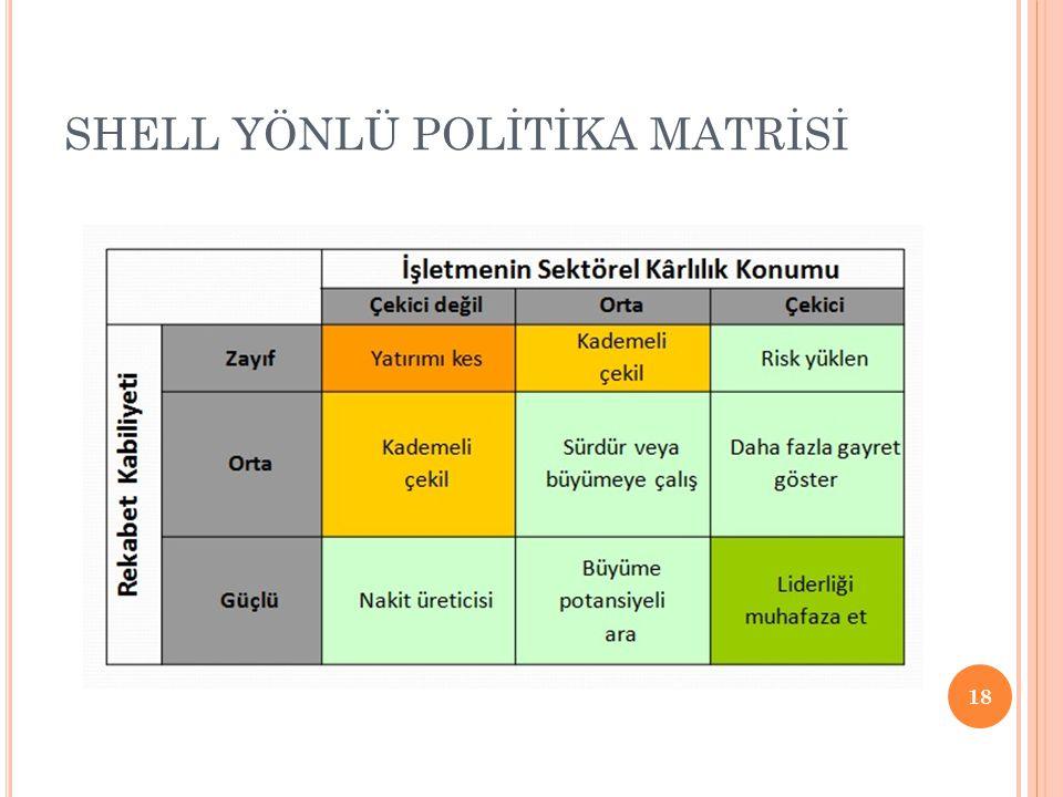 SHELL YÖNLÜ POLİTİKA MATRİSİ 18