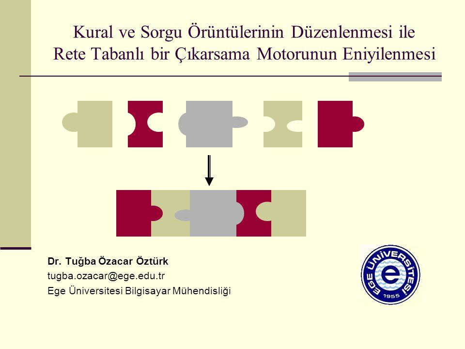 Kural ve Sorgu Örüntülerinin Düzenlenmesi ile Rete Tabanlı bir Çıkarsama Motorunun Eniyilenmesi Dr. Tuğba Özacar Öztürk tugba.ozacar@ege.edu.tr Ege Ün