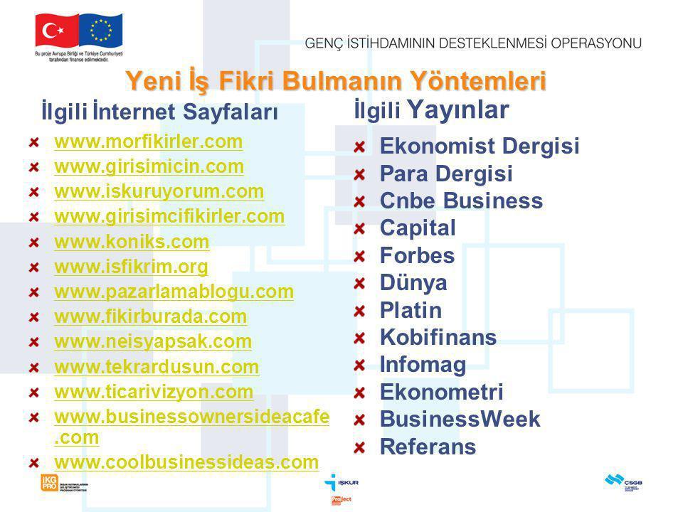 Yeni İş Fikri Bulmanın Yöntemleri İlgili İnternet Sayfaları www.morfikirler.com www.girisimicin.com www.iskuruyorum.com www.girisimcifikirler.com www.koniks.com www.isfikrim.org www.pazarlamablogu.com www.fikirburada.com www.neisyapsak.com www.tekrardusun.com www.ticarivizyon.com www.businessownersideacafe.com www.coolbusinessideas.com İlgili Yayınlar Ekonomist Dergisi Para Dergisi Cnbe Business Capital Forbes Dünya Platin Kobifinans Infomag Ekonometri BusinessWeek Referans