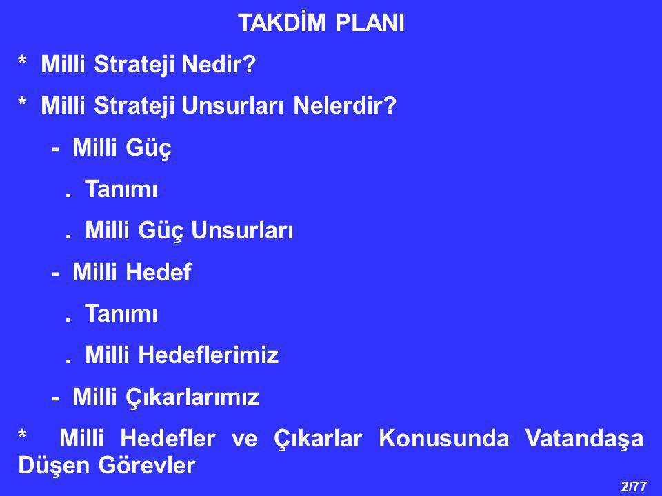 2/77 TAKDİM PLANI * Milli Strateji Nedir.* Milli Strateji Unsurları Nelerdir.