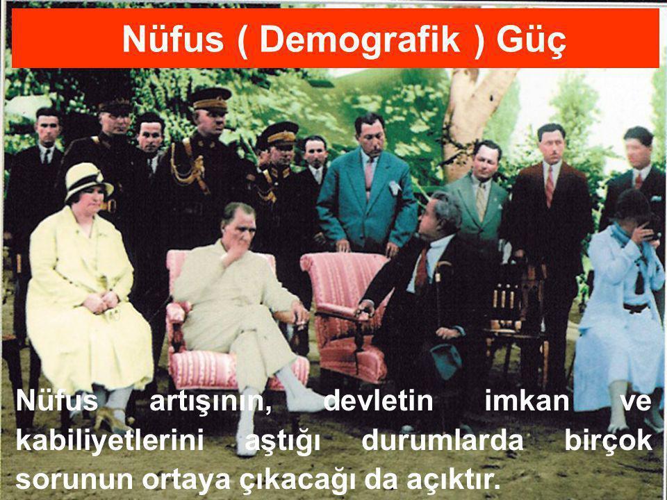26/77 Nüfus artışının, devletin imkan ve kabiliyetlerini aştığı durumlarda birçok sorunun ortaya çıkacağı da açıktır. Nüfus ( Demografik ) Güç