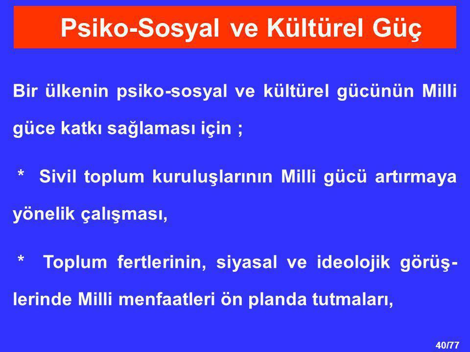 40/77 Bir ülkenin psiko-sosyal ve kültürel gücünün Milli güce katkı sağlaması için ; * Sivil toplum kuruluşlarının Milli gücü artırmaya yönelik çalışm