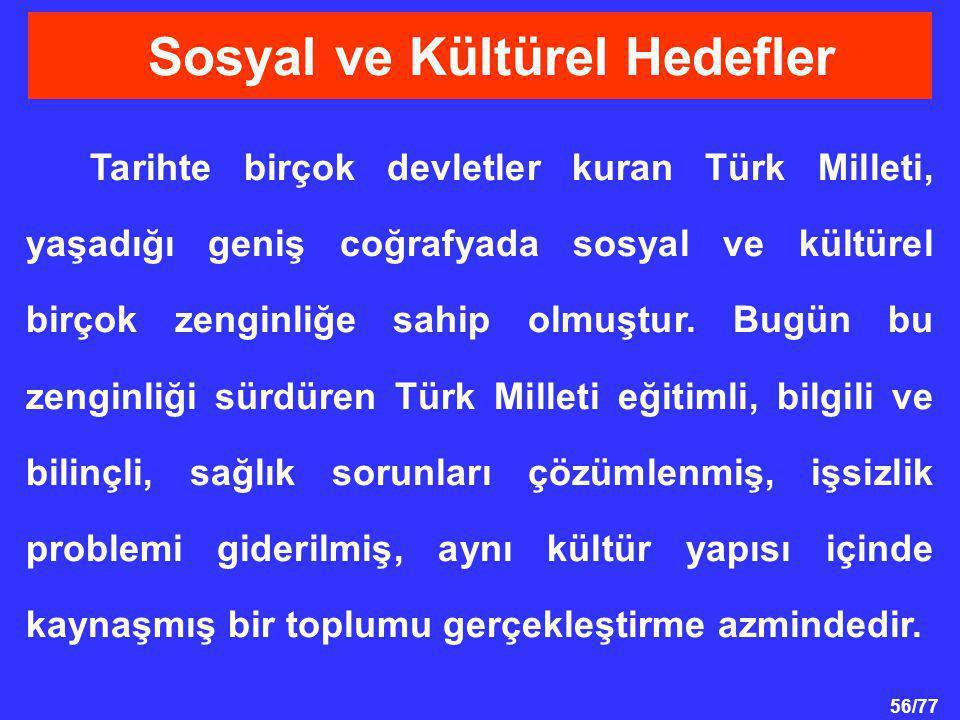 56/77 Sosyal ve Kültürel Hedefler Tarihte birçok devletler kuran Türk Milleti, yaşadığı geniş coğrafyada sosyal ve kültürel birçok zenginliğe sahip ol