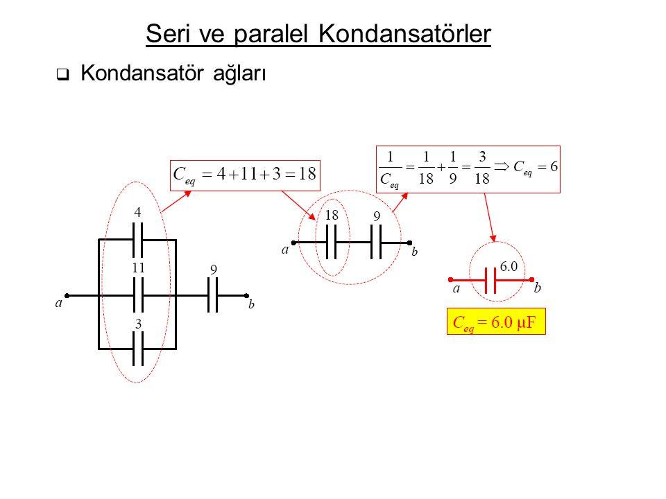 Seri ve paralel Kondansatörler  Kondansatör ağları