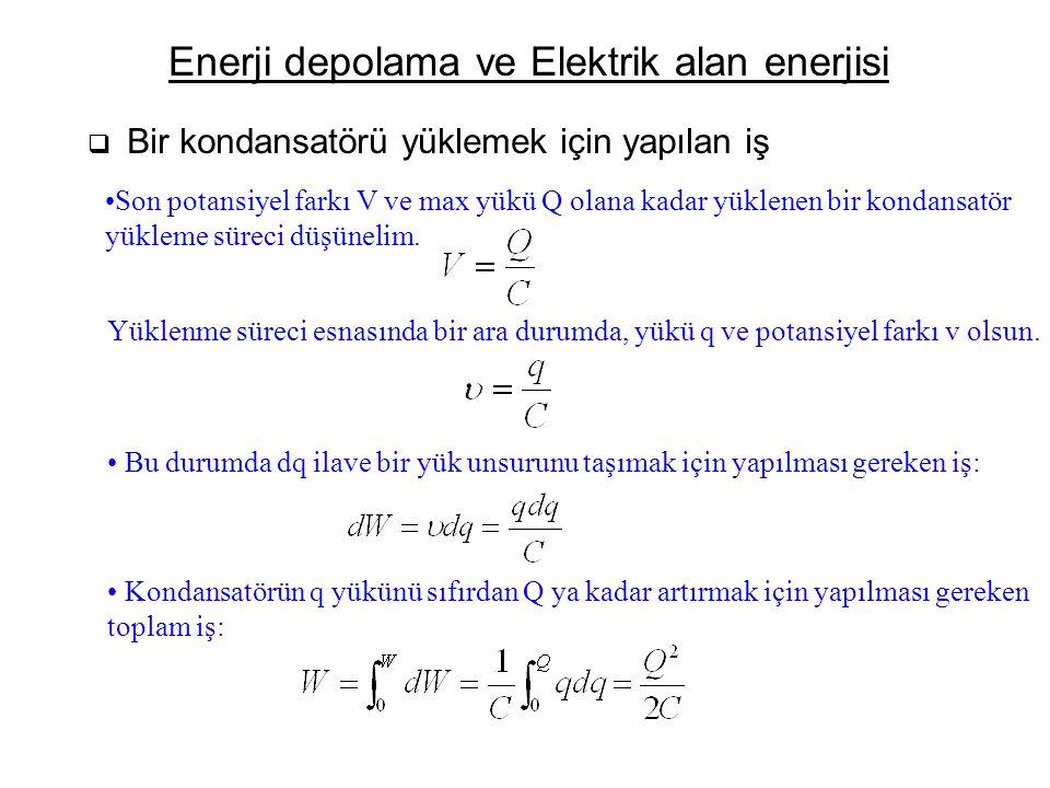 Enerji depolama ve Elektrik alan enerjisi  Bir kondansatörü yüklemek için yapılan iş Son potansiyel farkı V ve max yükü Q olana kadar yüklenen bir ko