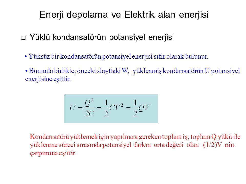 Enerji depolama ve Elektrik alan enerjisi  Yüklü kondansatörün potansiyel enerjisi Yüksüz bir kondansatörün potansiyel enerjisi sıfır olarak bulunur.