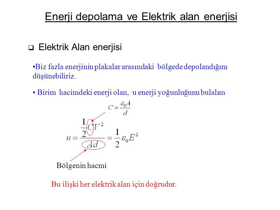 Enerji depolama ve Elektrik alan enerjisi  Elektrik Alan enerjisi Biz fazla enerjinin plakalar arasındaki bölgede depolandığını düşünebiliriz. Birim