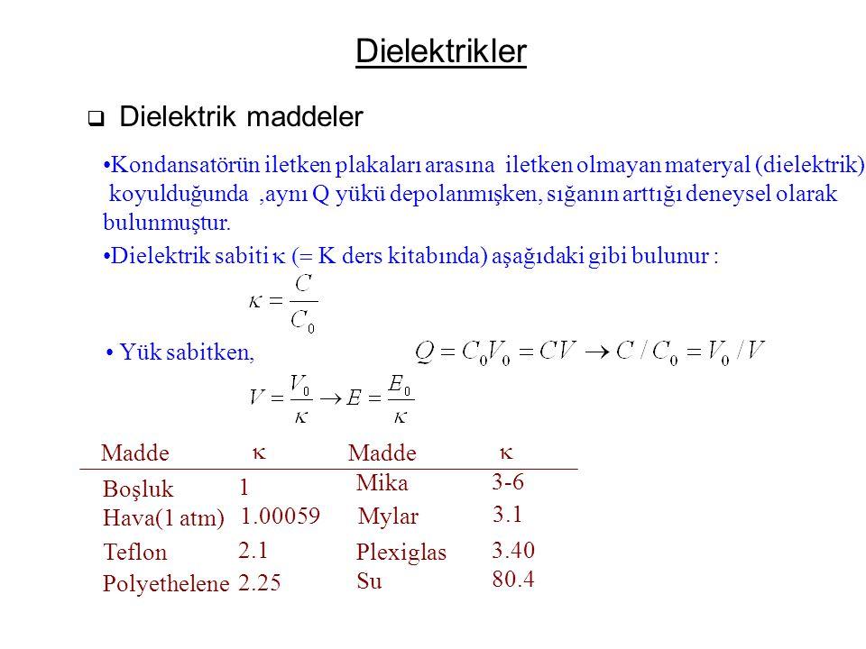 Dielektrikler  Dielektrik maddeler Kondansatörün iletken plakaları arasına iletken olmayan materyal (dielektrik) koyulduğunda,aynı Q yükü depolanmışk