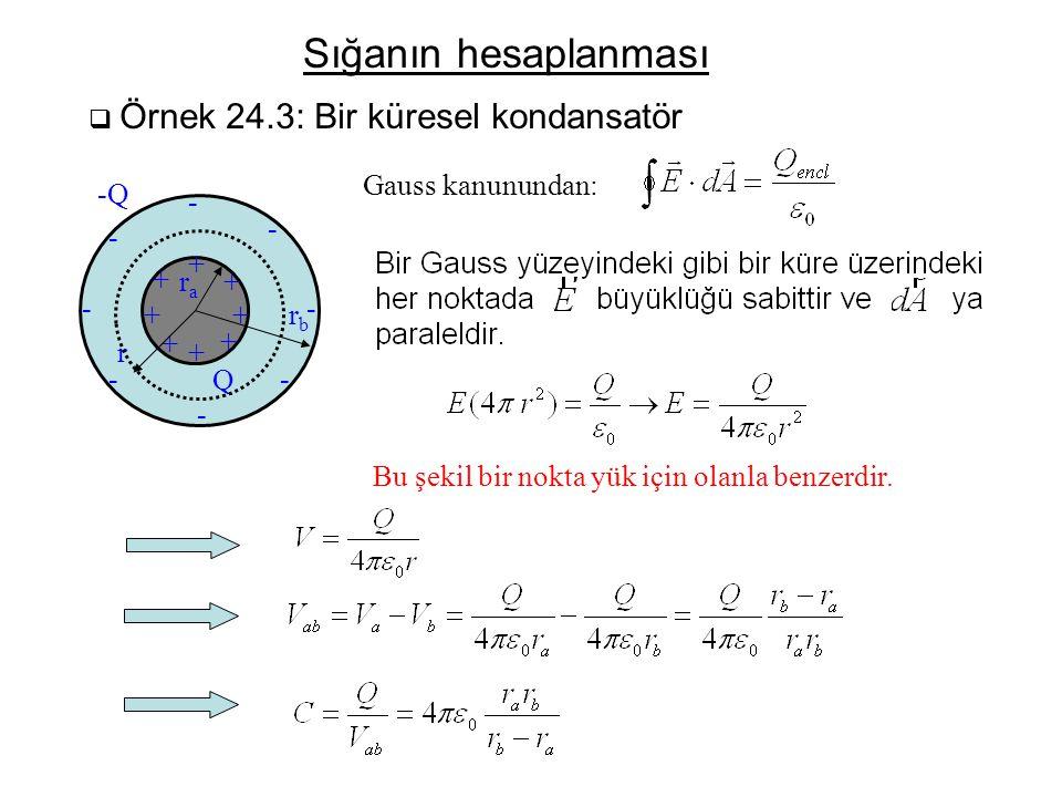 Sığanın hesaplanması  Örnek 24.3: Bir küresel kondansatör rara rbrb - - - - - - - - ++ + + + + + + -Q Q r Gauss kanunundan: Bu şekil bir nokta yük iç