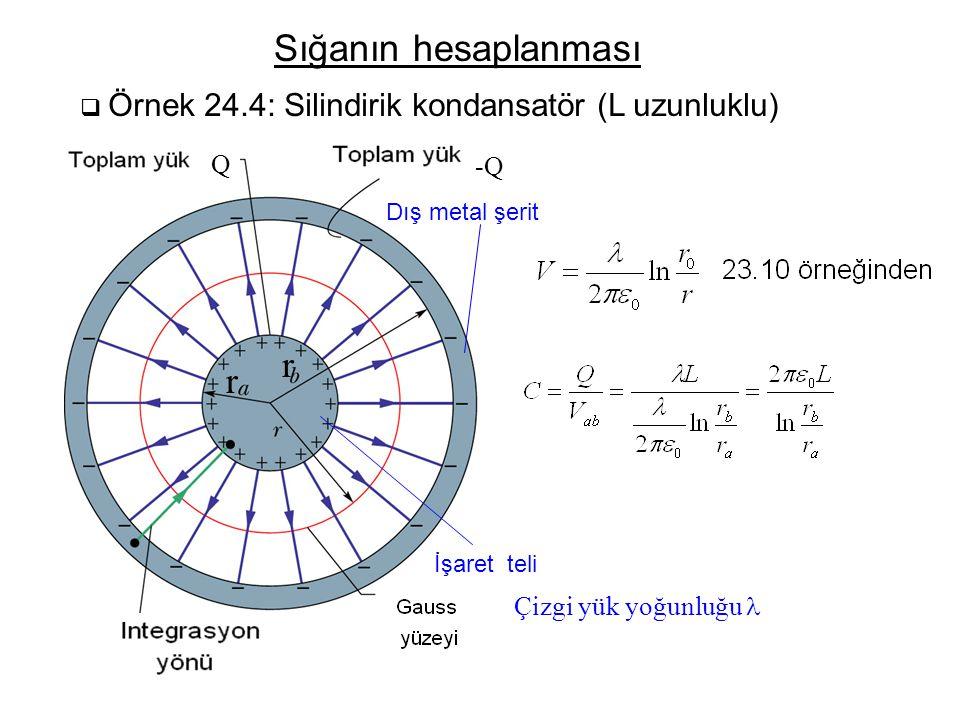 Sığanın hesaplanması  Örnek 24.4: Silindirik kondansatör (L uzunluklu) İşaret teli Dış metal şerit r r Çizgi yük yoğunluğu Q -Q