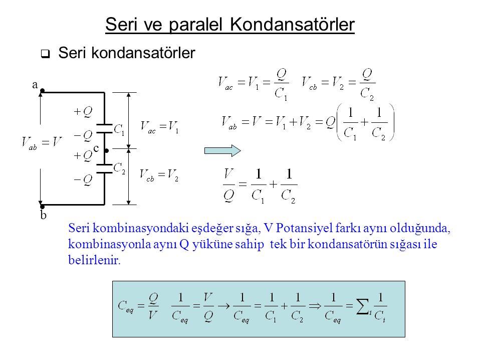 Seri ve paralel Kondansatörler  Seri kondansatörler a b c Seri kombinasyondaki eşdeğer sığa, V Potansiyel farkı aynı olduğunda, kombinasyonla aynı Q