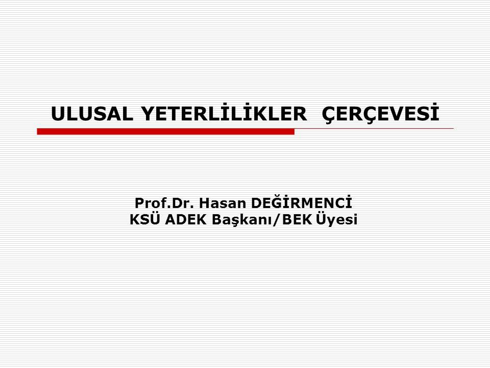 ULUSAL YETERLİLİKLER ÇERÇEVESİ Prof.Dr. Hasan DEĞİRMENCİ KSÜ ADEK Başkanı/BEK Üyesi