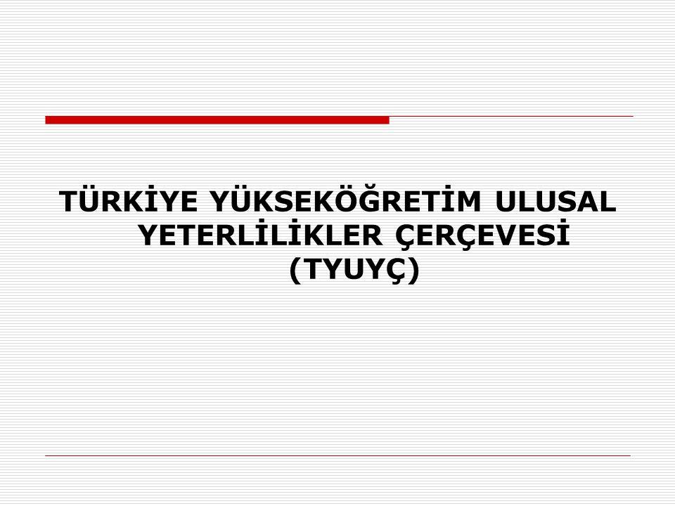 Türkiye Yükseköğretim Ulusal Yeterlilikler Çerçevesi Oluşturma Aşamaları ve Aşamaların Öngörülen Tamamlanma Tarihleri TYUYÇ Oluşturma Aşamaları 1 Süreci başlatmak için karar alınması Nisan 2006 2 Çalışma takviminin oluşturulması 2006 3 Sürecin organizasyonu 2006- 2008 4 Çerçevenin tasarımı Kasım 2008 5 Paydaşlardan görüş alınması Ocak 2009 6 Çerçevenin onaylanması Mayıs 2009 7 İdari organizasyon Haziran 2009 8 Çerçevenin yükseköğretim programları düzeyinde uygulanması Pilot Uygulama Aralık 2010 Tüm Kurumlarda UygulamaAralık 2012 9 Yeterliliklerin TYUYÇ'ne dahil edilmesi 2010 - 2015 10 Çerçevenin Avrupa Yeterlilik Çerçeveleri ile uyumluluğunun belgelendirilmesi2010 - 2012