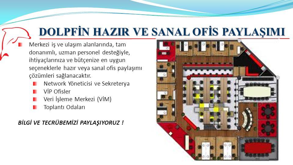 DOLPFİN HAZIR VE SANAL OFİS PAYLAŞIMI 23 Merkezi iş ve ulaşım alanlarında, tam donanımlı, uzman personel desteğiyle, ihtiyaçlarınıza ve bütçenize en u