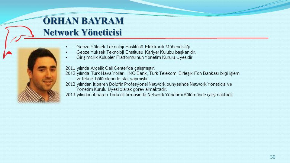 ORHAN BAYRAM Network Yöneticisi 30 Gebze Yüksek Teknoloji Enstitüsü Elektronik Mühendisliği Gebze Yüksek Teknoloji Enstitüsü Kariyer Kulübü başkanıdır