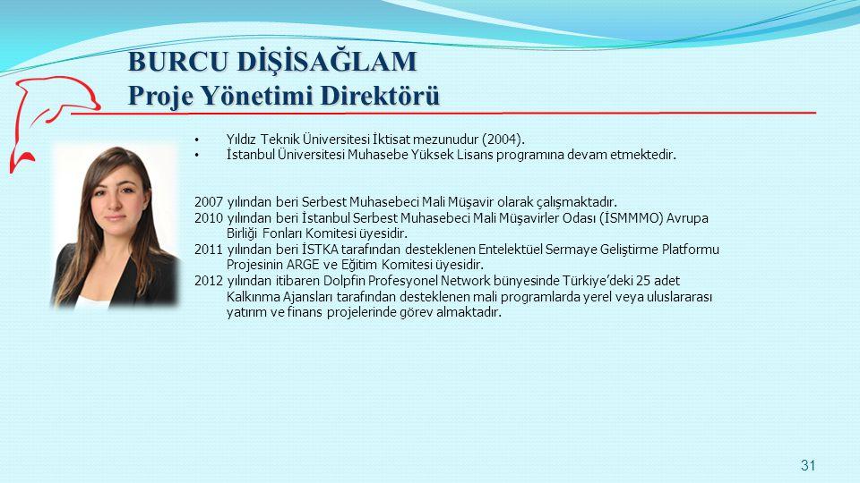 BURCU DİŞİSAĞLAM Proje Yönetimi Direktörü 31 Yıldız Teknik Üniversitesi İktisat mezunudur (2004). İstanbul Üniversitesi Muhasebe Yüksek Lisans program