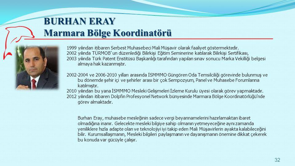 BURHAN ERAY Marmara Bölge Koordinatörü 32 1999 yılından itibaren Serbest Muhasebeci Mali Müşavir olarak faaliyet göstermektedir. 2002 yılında TÜRMOB'