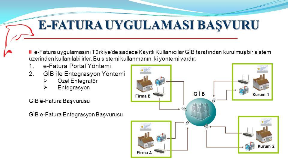 E-FATURA UYGULAMASI BAŞVURU 8 GİB Başvuru Kılavuzunda; e-Fatura Uygulaması kapsamında fatura oluşturma, gönderme ve alma işlemlerini bilgi işlem sistemlerinin entegrasyonu yöntemiyle gerçekleştirmek isteyen mükellefler entegrasyon süreçleri tamamlanana kadar portal hesaplarının tanımlanmamasını talep edebilmektedir.