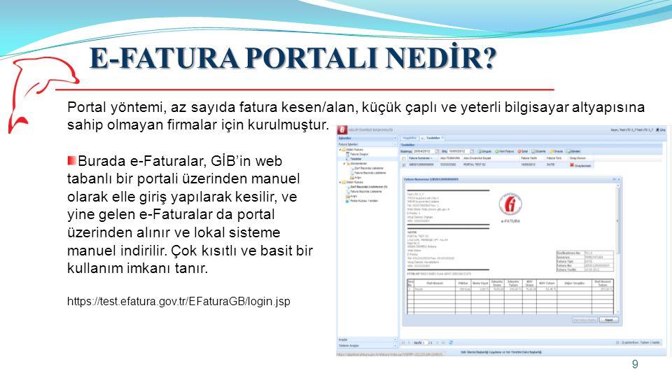 E-FATURA PORTALI NEDİR? 9 Portal yöntemi, az sayıda fatura kesen/alan, küçük çaplı ve yeterli bilgisayar altyapısına sahip olmayan firmalar için kurul