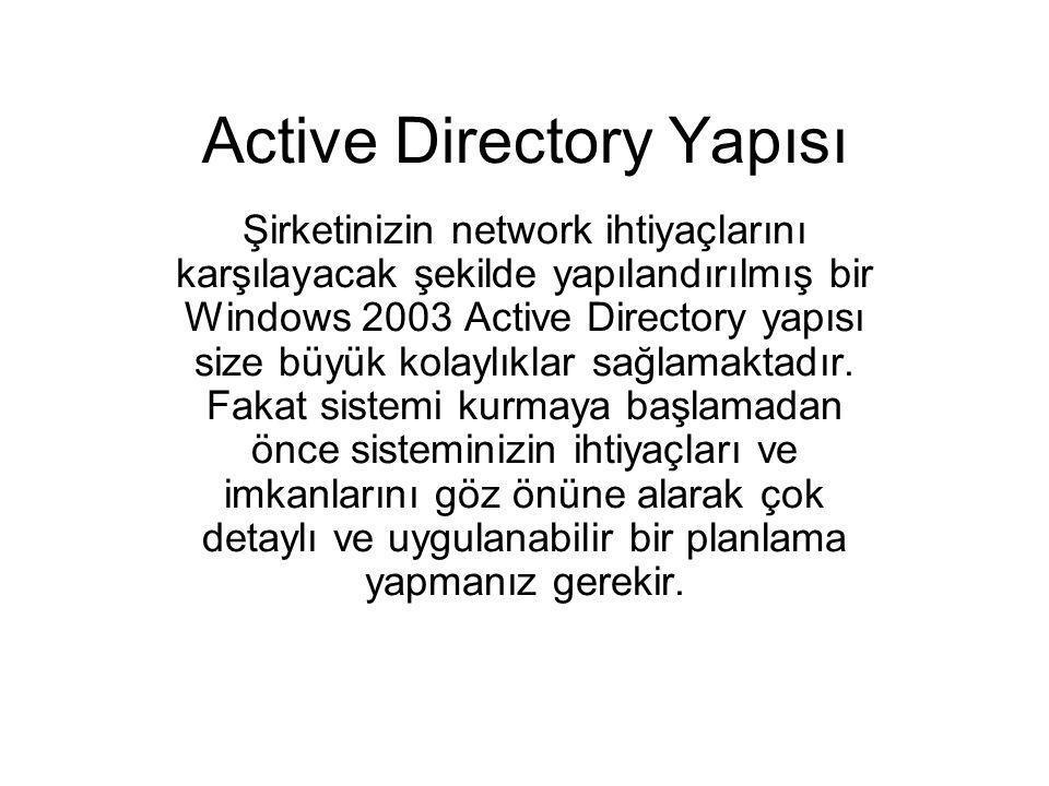 Active Directory Yapısı Şirketinizin network ihtiyaçlarını karşılayacak şekilde yapılandırılmış bir Windows 2003 Active Directory yapısı size büyük ko