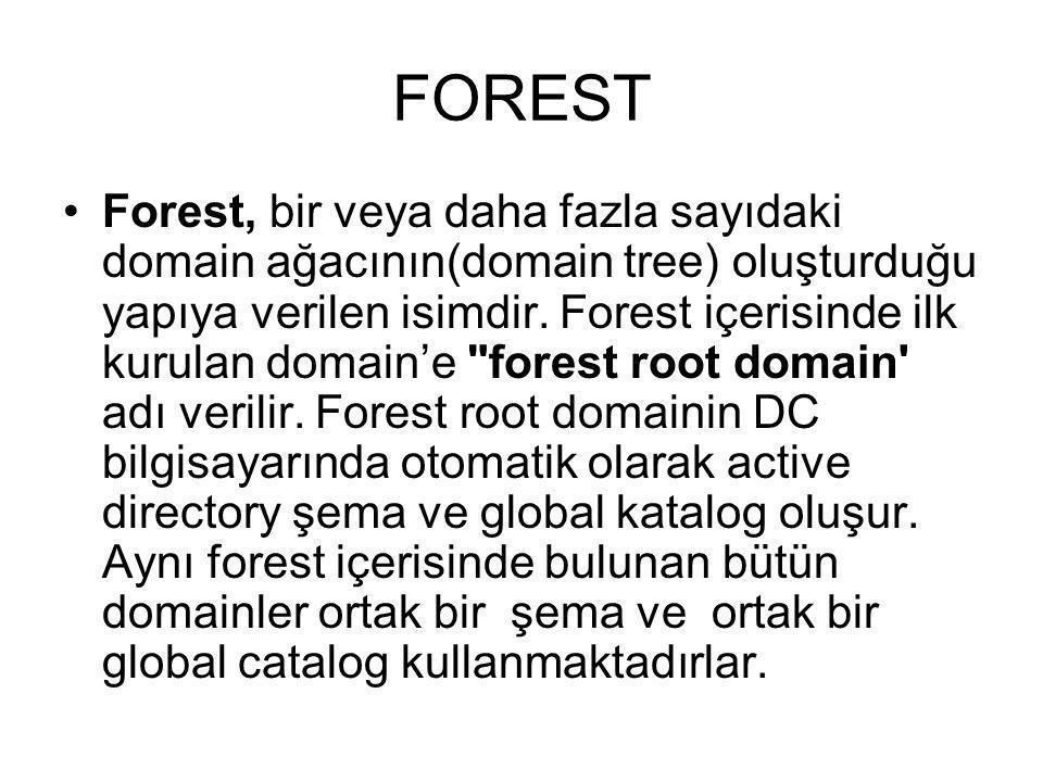 FOREST Forest, bir veya daha fazla sayıdaki domain ağacının(domain tree) oluşturduğu yapıya verilen isimdir. Forest içerisinde ilk kurulan domain'e