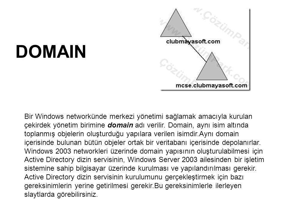 DOMAIN Bir Windows networkünde merkezi yönetimi sağlamak amacıyla kurulan çekirdek yönetim birimine domain adı verilir. Domain, aynı isim altında topl