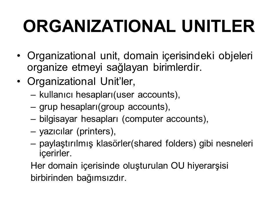 Organizational unit, domain içerisindeki objeleri organize etmeyi sağlayan birimlerdir. Organizational Unit'ler, –kullanıcı hesapları(user accounts),