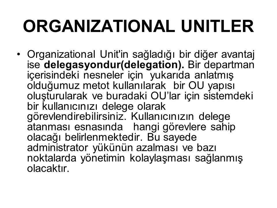 ORGANIZATIONAL UNITLER Organizational Unit'in sağladığı bir diğer avantaj ise delegasyondur(delegation). Bir departman içerisindeki nesneler için yuka